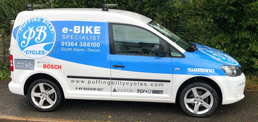 Image showing the finished Puffing Billy Cycles van wrap